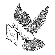 Postal Dove With Letter Engrav...