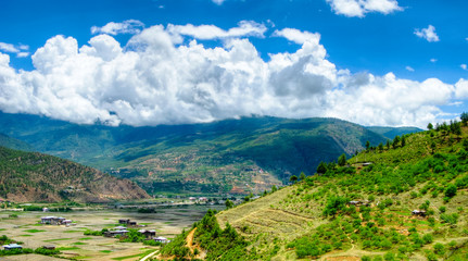 Panorama view to Paro valley in Bhutan