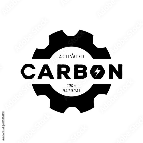 activated carbon logo with gear shape and form logo Wallpaper Mural