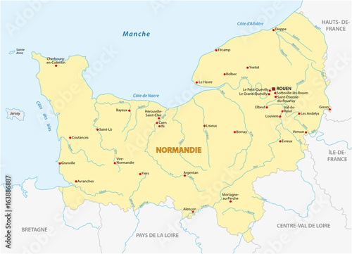 Map Of France In French Language.Map Of The New French Region Of Normandy In French Language Buy
