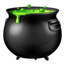 Halloween Witch Cauldron With Bubbling Green Goo. Vector Illustration.