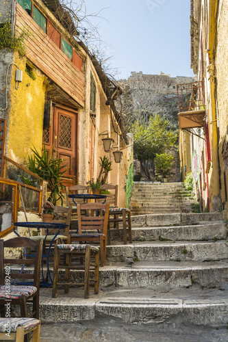 Picturesque alley at plaka leads to acropolis. Athens, Greece