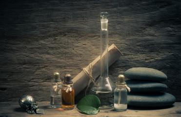 Obraz na płótnie Canvas Vials of perfume oils in fragrance lab