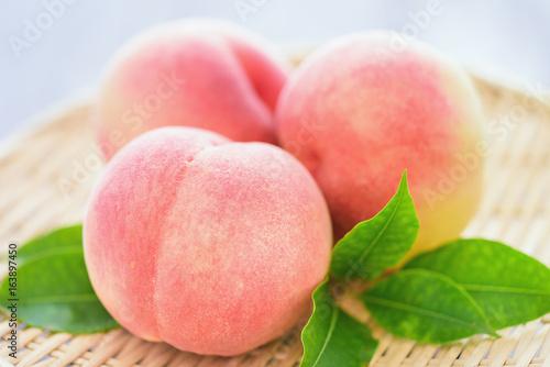 Organic Ripe Peaches on Japanese Zaru Basket