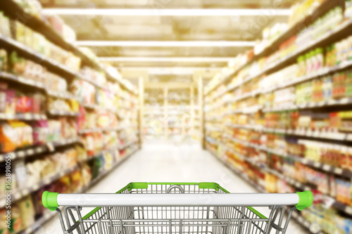Abstract blurred photo of store with trolley in department store bokeh backgroun Fototapet
