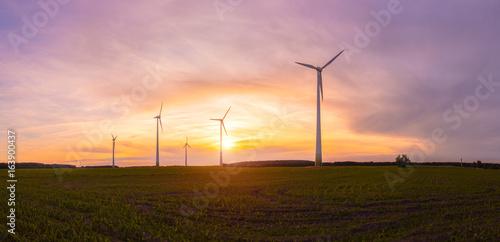 Zdjęcie XXL Windräder Windrad Windpark Panorama Windenergie Sunrise Podświetlenie,