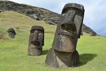 Moai Statues At Rano Raraku On...