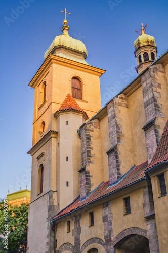 Holy Ghost Church at sunset. Prague, Czech Republic Poster