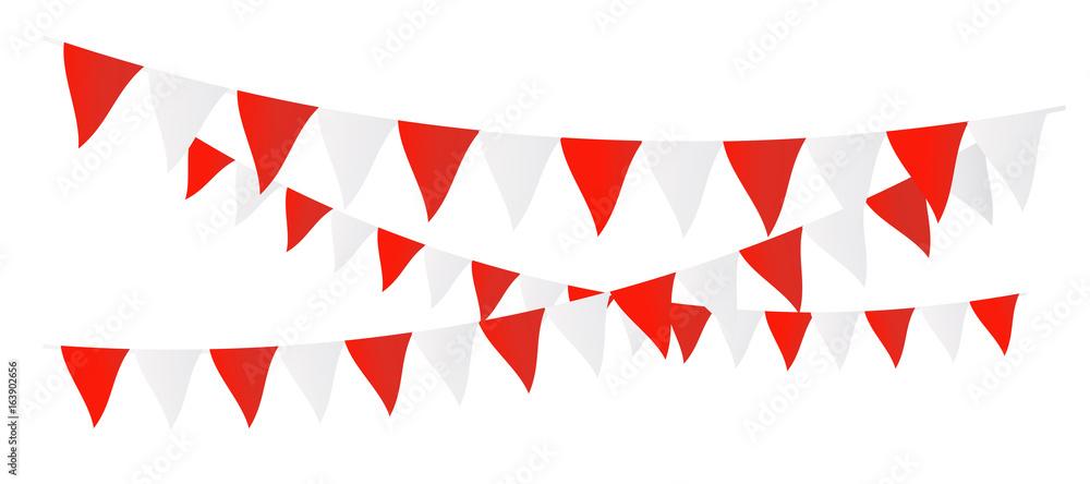 Red and white garlands - obrazy, fototapety, plakaty