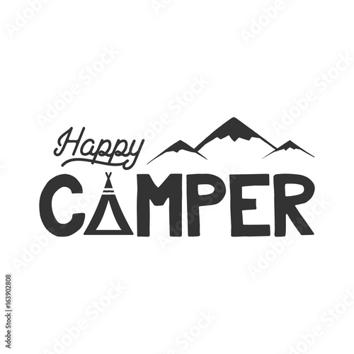 happy camper poster template tent mountains and text sign retro