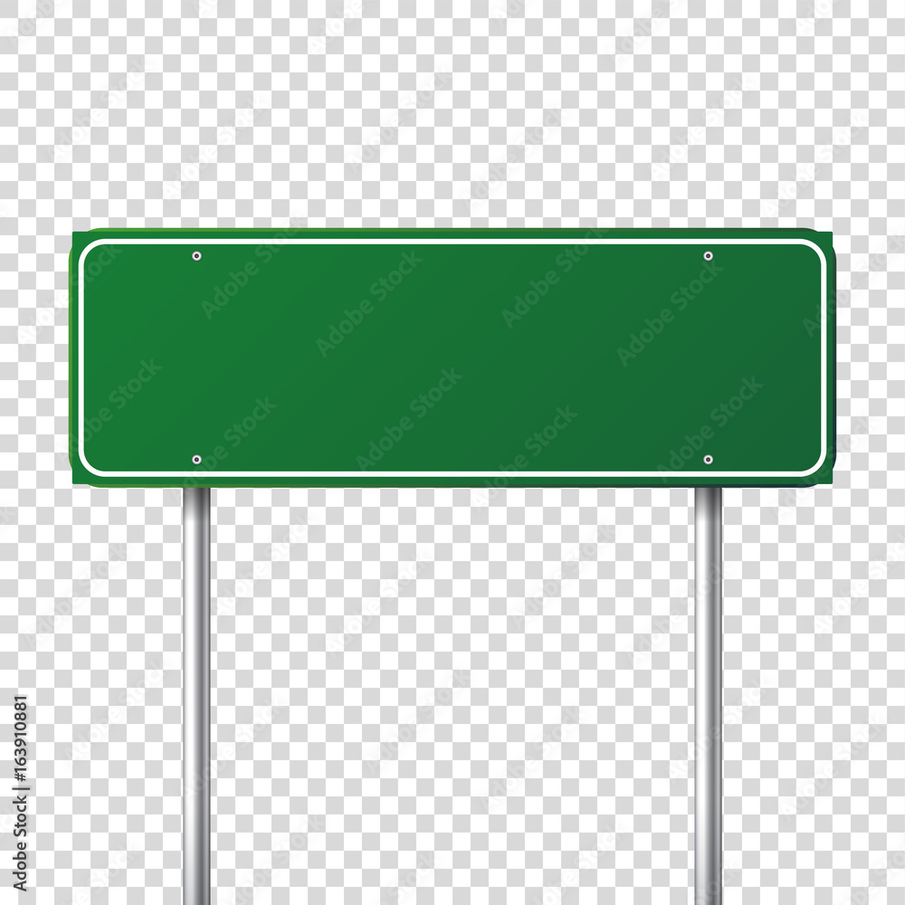 Fototapeta Road green traffic sign. Blank board with place for text.Mockup. Isolated information sign. Direction. Vector illustration.