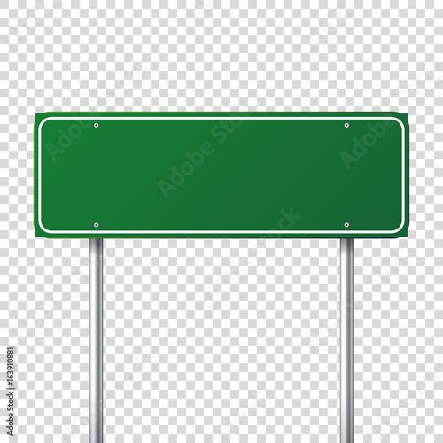 Obraz Road green traffic sign. Blank board with place for text.Mockup. Isolated information sign. Direction. Vector illustration. - fototapety do salonu