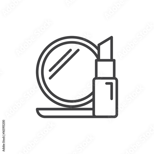 Cosmetics Line Icon Outline Vector Sign Linear Style Pictogram Isolated On White Lipstick And Compact Mirror Symbol Logo Illustration Editable Stroke Pixel Perfect Graphics Buy This Stock Vector And Explore Similar