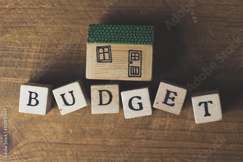 Home budget concept  House model with budget word made from wooden