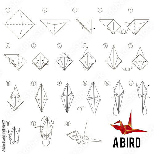 Fotografie, Obraz step by step instructions how to make origami A Bird.