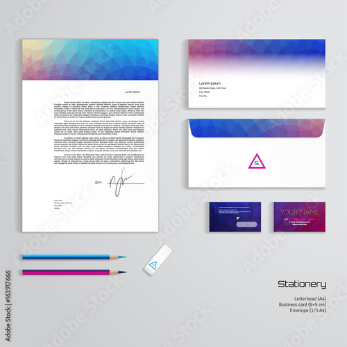 Vector identity templates multicolored geometric pattern vector identity templates multicolored geometric pattern letterhead envelope business card pencils accmission Choice Image