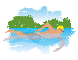 Young man swiming in the river. 