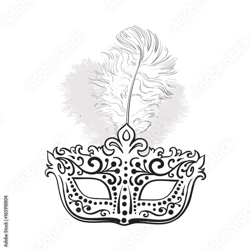 Beautifully Decorated Venetian Carnival Mask With Feathers And Ornaments Sketch Style Vector Illustration Isolated On White Background Realistic Hand Drawing Of Carnival Venetian Mask Buy This Stock Vector And Explore Similar