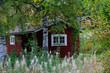 Schwedische Holzhütten im Herbst, Hamra