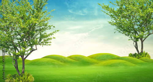 Foto auf Leinwand Lime grun panorama of green hills with sunrise sky ,3D rendering