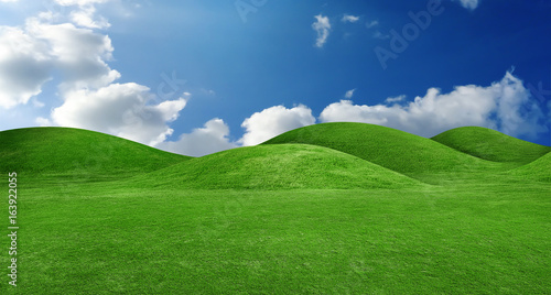 panorama of green hills landscape
