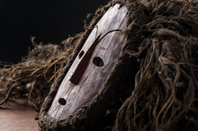 African Wooden Mask, With Hair...