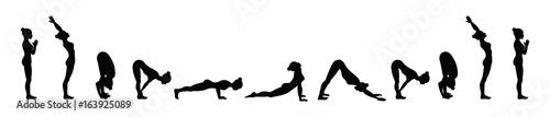 Photo Sun salutation. Surya namaskara A. Yoga sequence.