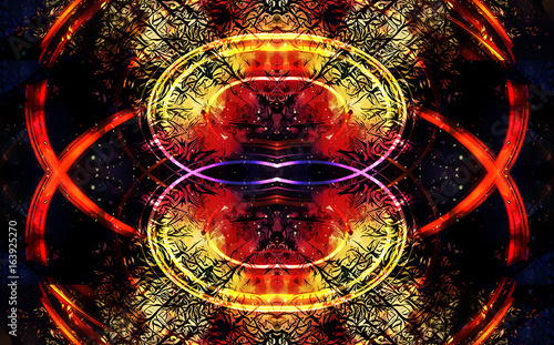 Fotobehang - background pattern with filigrane fractal effect structure and circular and eliptical forms.