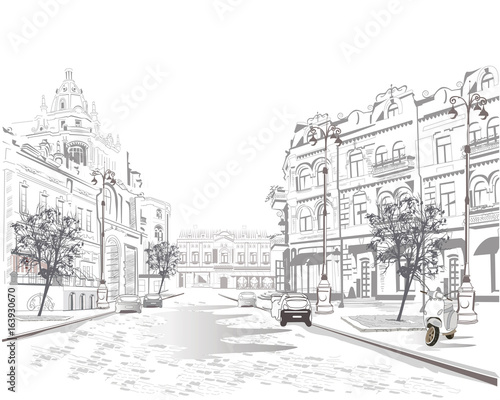 Foto op Canvas Drawn Street cafe Series of street views in the old city. Hand drawn vector architectural background with historic buildings.