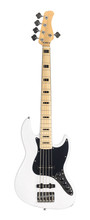 White Electric Bass Guitar Isolated On White Background