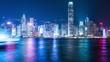 Tsim Sha Tsui, Hong Kong, 27 May 2017 -:Victoria Harbor in Hong Kong at night