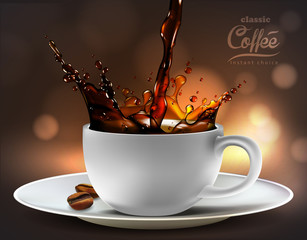 Panel Szklany Kawa Coffee advertising design, high detailed realistic illustration