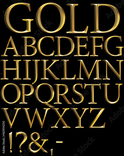 Tablou Canvas gold beveled 3d alphabet on black