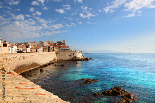 View of seawall in Antibes France Canvas Print