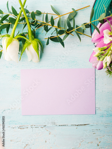 Empty Purple Card Flowers Tulips Roses Spring Pastel Color