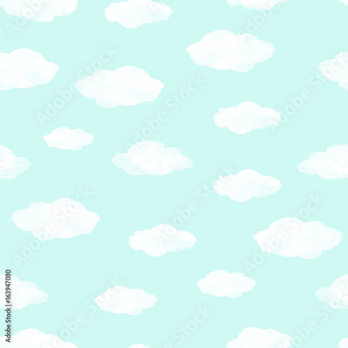 Foto op Plexiglas Hemel Hand painted seamless watercolor pattern. Abstract watercolor clouds on mint background. Seamless pattern with watercolor white clouds.