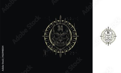 Fotografering  Skull, bullet, hardcore, metal, emblem symbol icon vector logo
