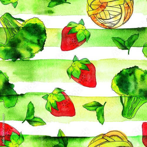 warzywa-i-owoce-na-zielonym-tle