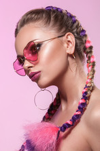 Beautiful Portrait Of A Young Girl. Brady And Rose-colored Glasses.