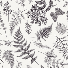 FototapetaSeamless pattern with leaves and butterfly.