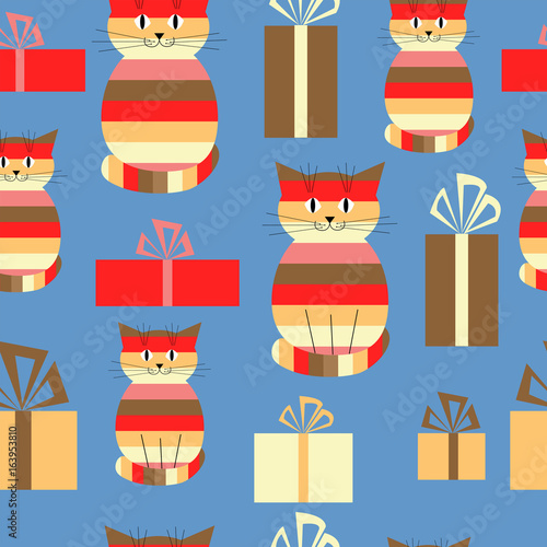 Festive greeting seamless background with cute cats and gifts