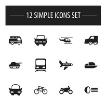 Set Of 12 Editable Shipment Icons. Includes Symbols Such As Luminary, City Drive, Wagon And More. Can Be Used For Web, Mobile, UI And Infographic Design.