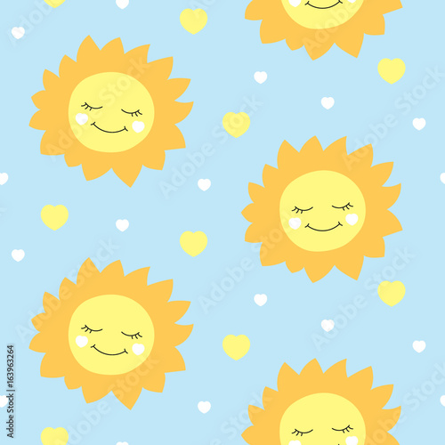 Cute Baby Sun Pattern Vector Seamless Kids Print With Happy Sun And Hearts On Blue Background Design For Birthday Card Children Wallpaper Or Fabric Boy Baby Shower Invitation Template Buy This