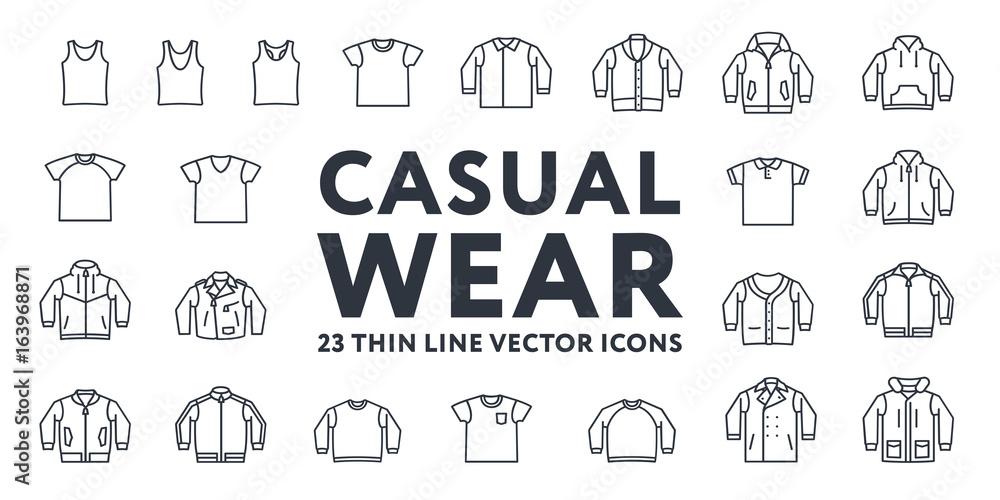 Fototapeta Thin Line Stroke Casual Sportswear Menswear Clothes Vector Icons Set: T-shirt, Tank top, Polo, Sweater, Sweatshirt, Cardigan, Leather Jacket, Bomber, Hoodie, Pea Coat.