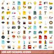100 art school icons set, flat style