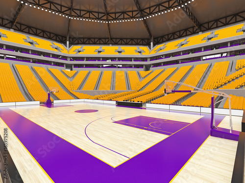 Large modern basketball arena with yellow seats Poster Mural XXL