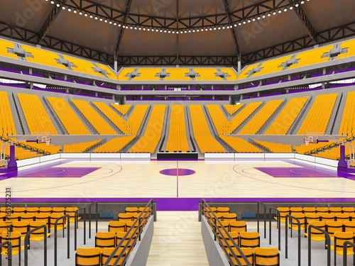 Large modern basketball arena with yellow seats Poster