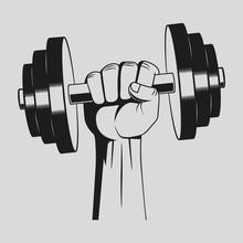 Dumbbell. Gym. Vector Art.