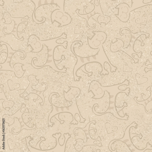 Beige vector seamless pattern with cute cartoon doodle cats Little yellow kittens. Funny animals. Children's illustration. Vector image.
