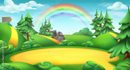 Glade in a forest. Nature landscape 3d vector background